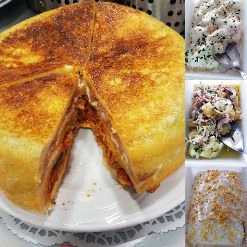 Pastel de atun, york y queso y tapas varias del Bar Casa EL CATETO