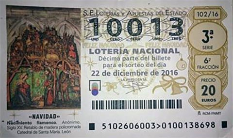 Loteria de Navidad 2016 Bar Casa EL CATETO