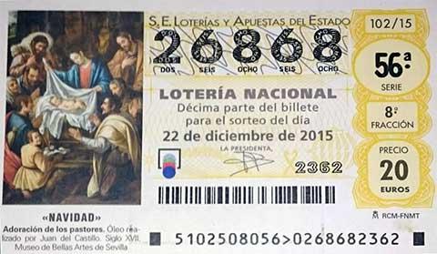 Lotería de Navidad 2015 del Bar Casa EL CATETO
